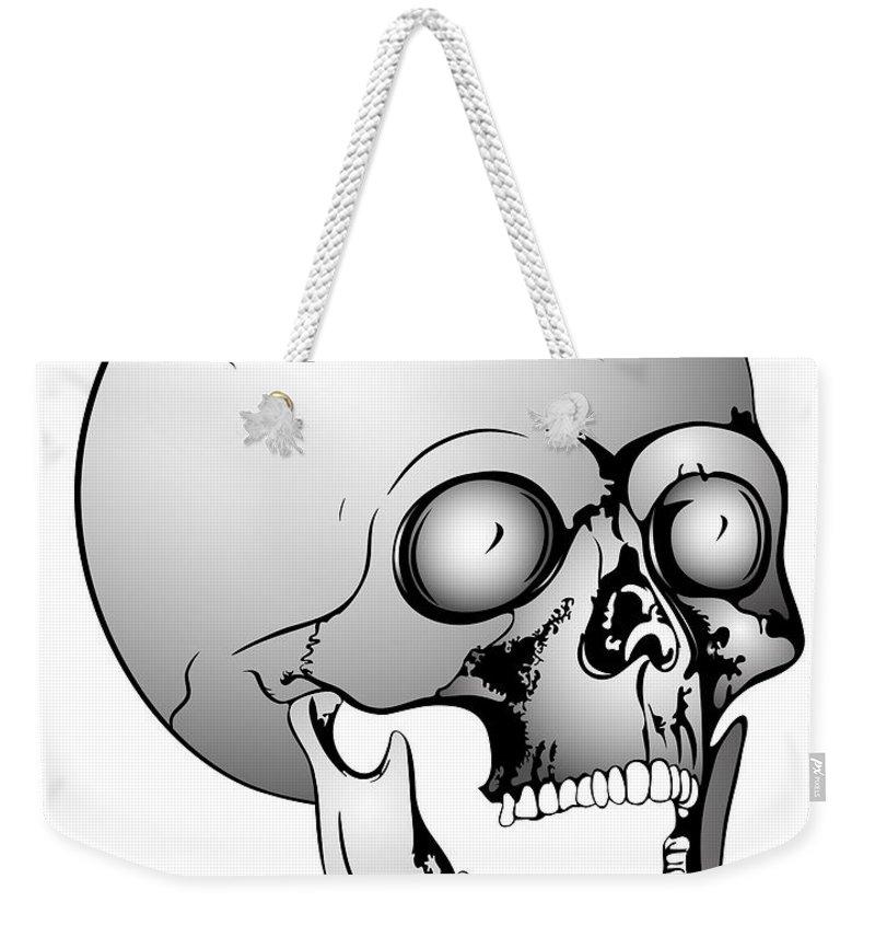 Scull Weekender Tote Bag featuring the digital art Screaming Skull by Michal Boubin