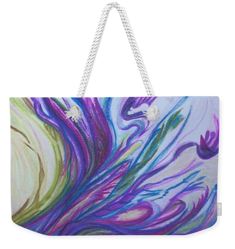 Abstract Weekender Tote Bag featuring the painting Seaweedy by Suzanne Udell Levinger