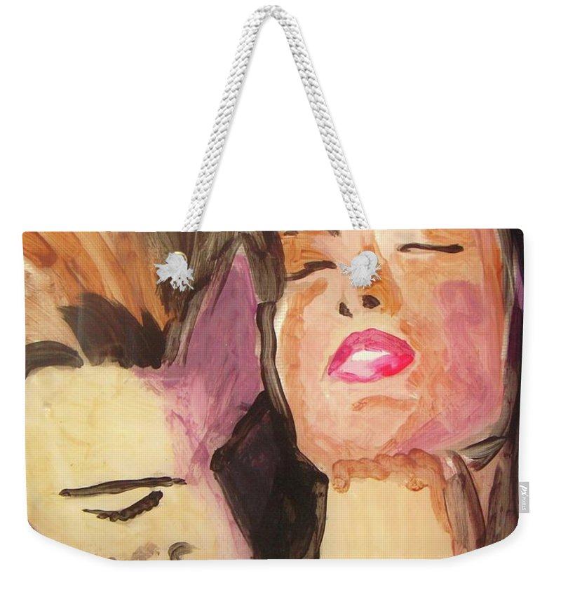 Love Weekender Tote Bag featuring the painting Secret Love by Vesna Antic