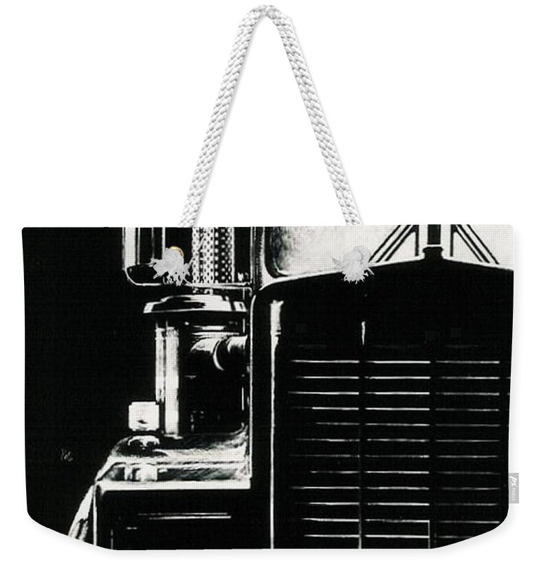 Vehicle Weekender Tote Bag featuring the drawing Semi by Barbara Keith