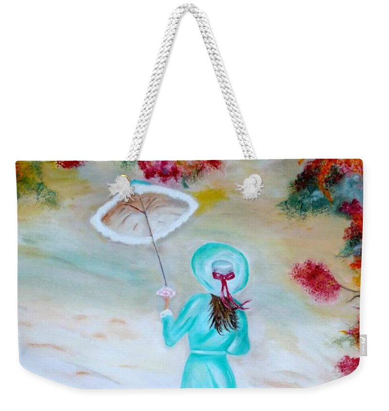 Victorian Weekender Tote Bag featuring the painting Autumn Walk by Lynne Messeck