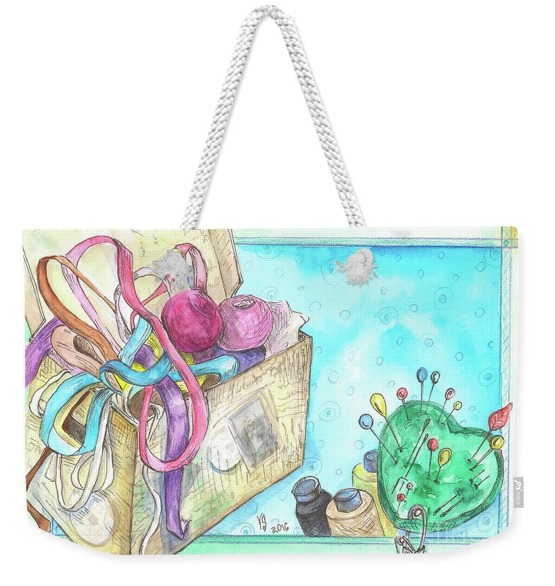 Threads Weekender Tote Bag featuring the painting Sewing by Yana Sadykova