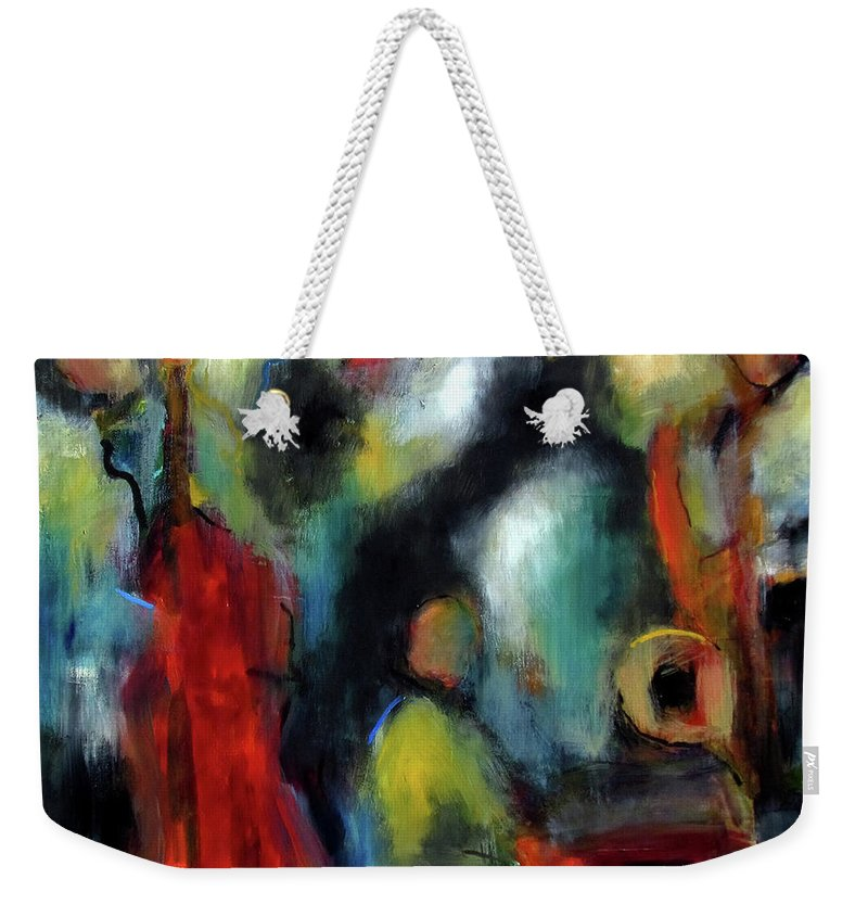Abstract Weekender Tote Bag featuring the painting Shades by Debra Hurd
