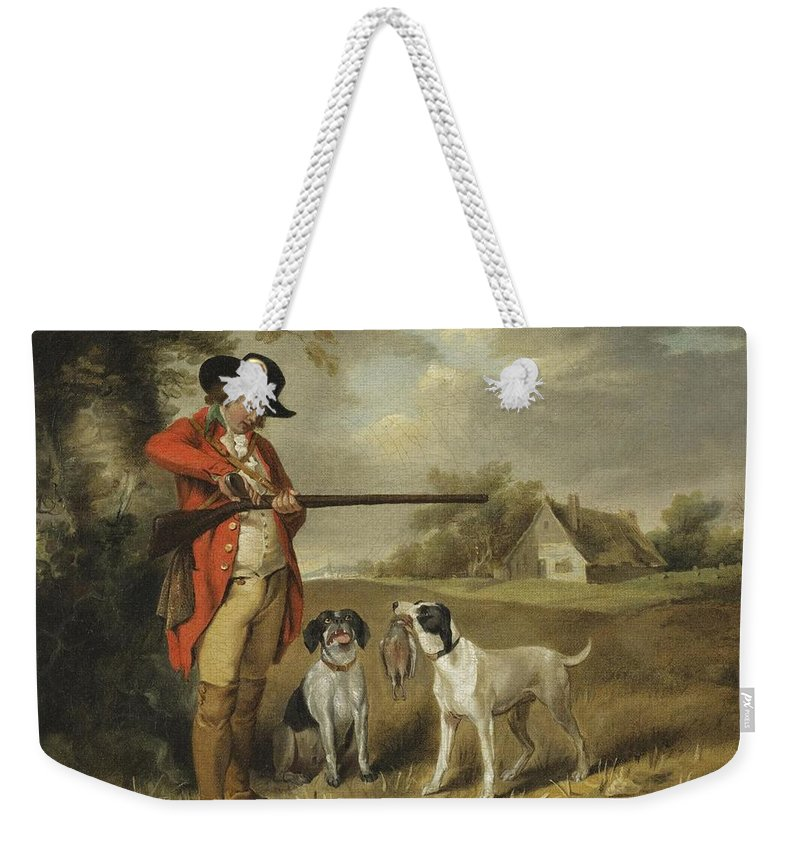 George Morland English 1763 - 1804 Shooting Weekender Tote Bag featuring the painting Shooting by George Morland