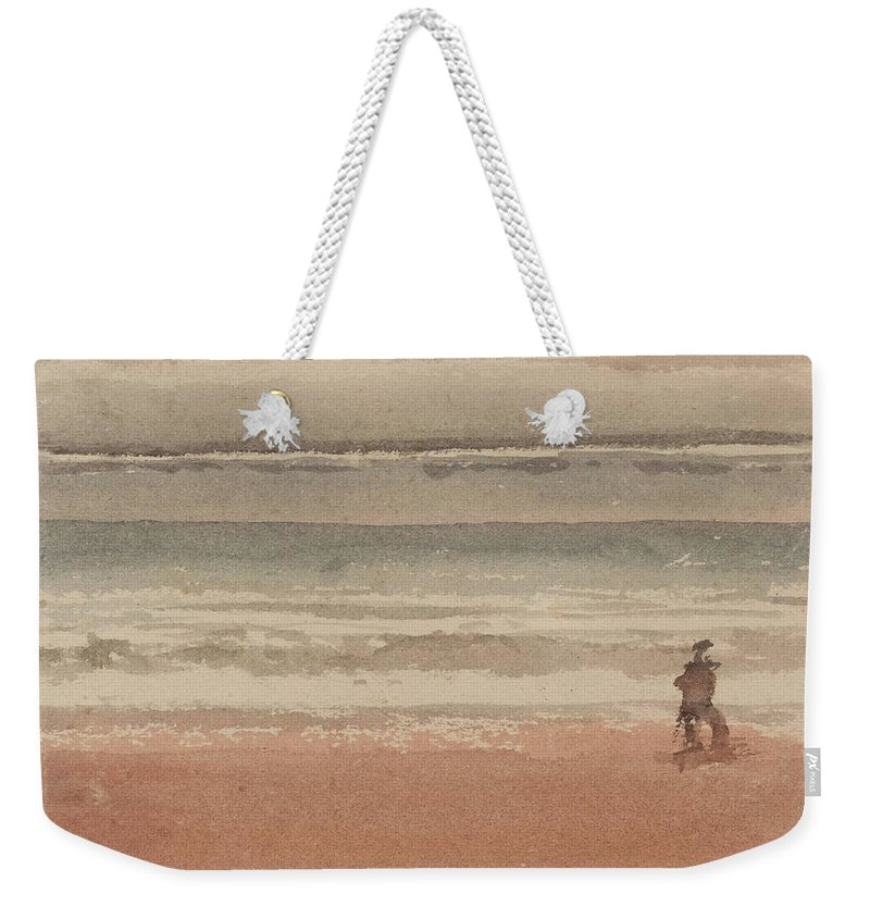 William Henry Hunt 1790�1864 Title Shore Scene Weekender Tote Bag featuring the painting Shore Scene by William Henry