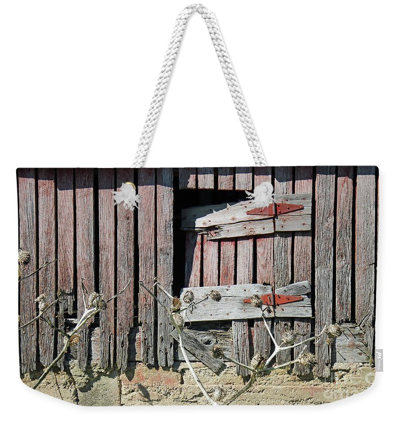 Barn Weekender Tote Bag featuring the photograph Side Door by Steve Gass