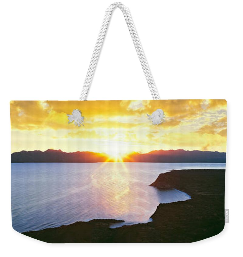Photography Weekender Tote Bag featuring the photograph Silhouette Of Lone Cardon Cactus Plant by Panoramic Images