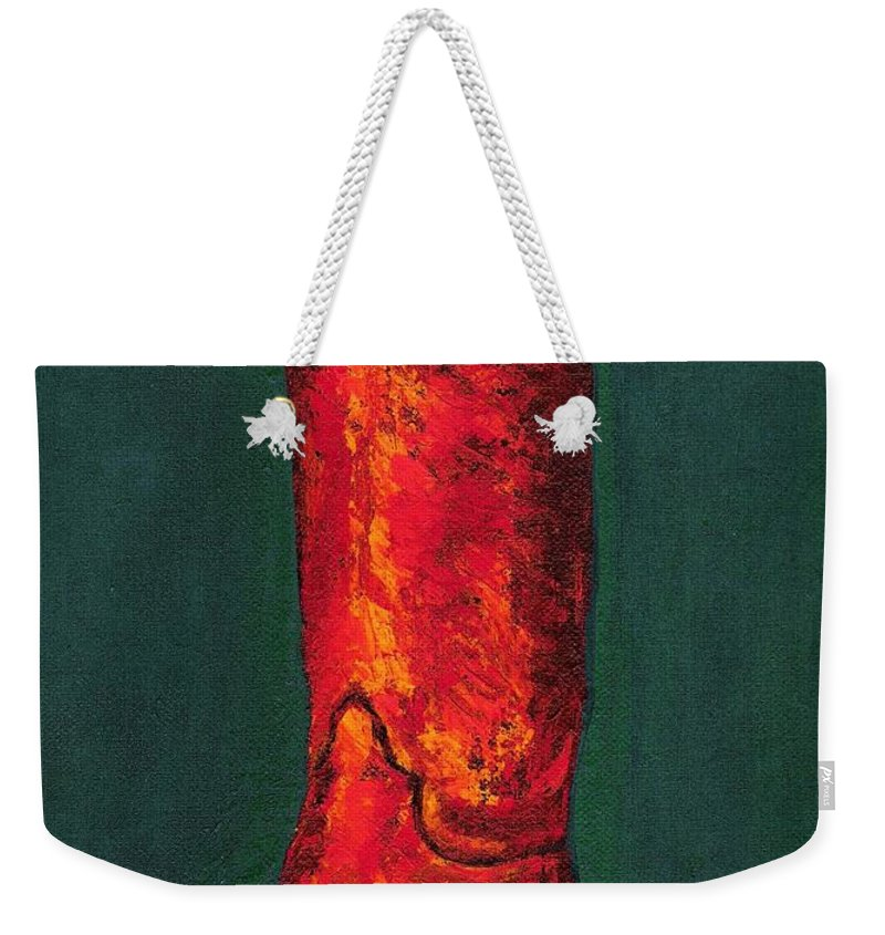 Boots Weekender Tote Bag featuring the painting Singled Out by Frances Marino
