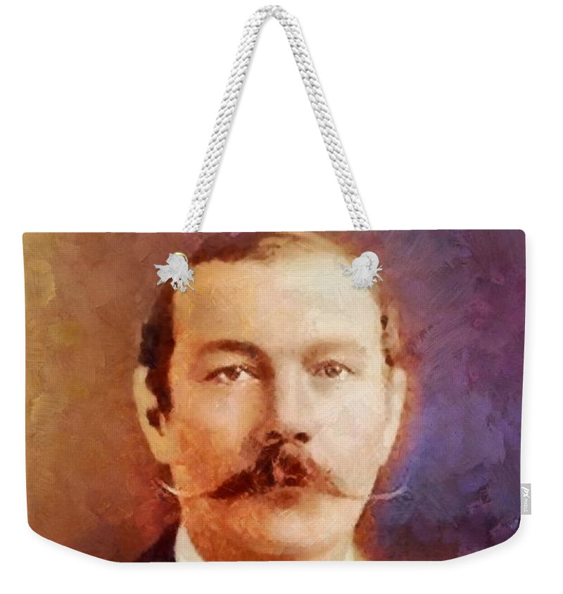 Writer Weekender Tote Bag featuring the painting Sir Arthur Conan Doyle, Literary Legend by Sarah Kirk