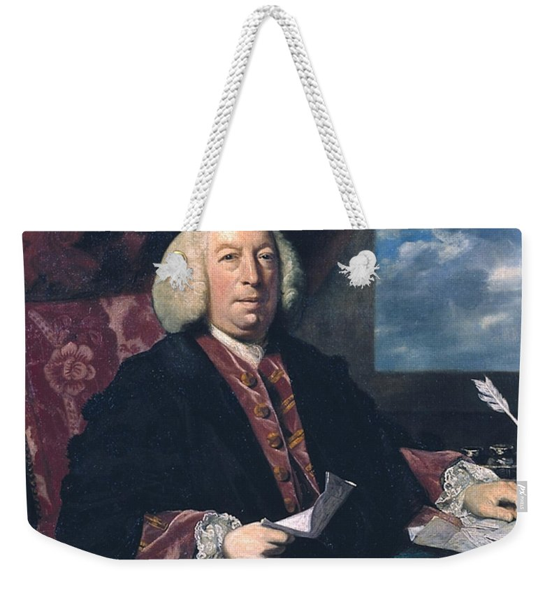 Sir Joshua Reynolds 1723–1792  Sir James Hodges Weekender Tote Bag featuring the painting Sir James Hodges by Joshua Reynolds
