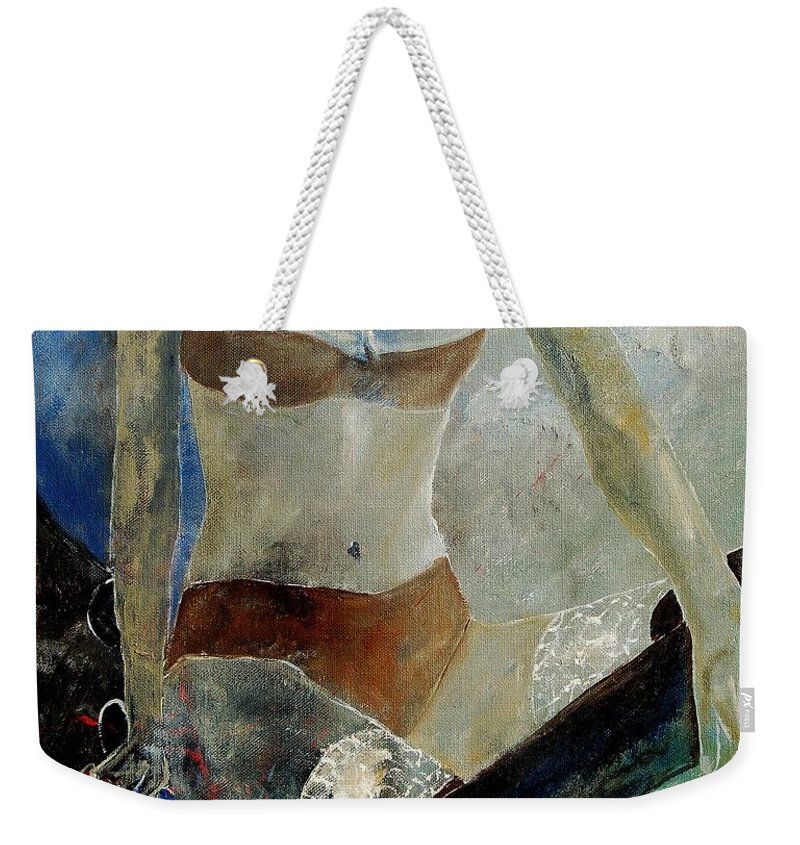 Nude Weekender Tote Bag featuring the painting Sitting Girl by Pol Ledent