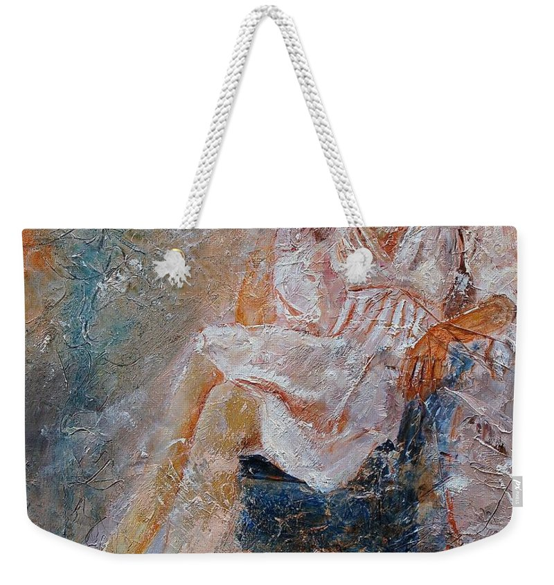 Girl Weekender Tote Bag featuring the painting Sitting Young Girl by Pol Ledent