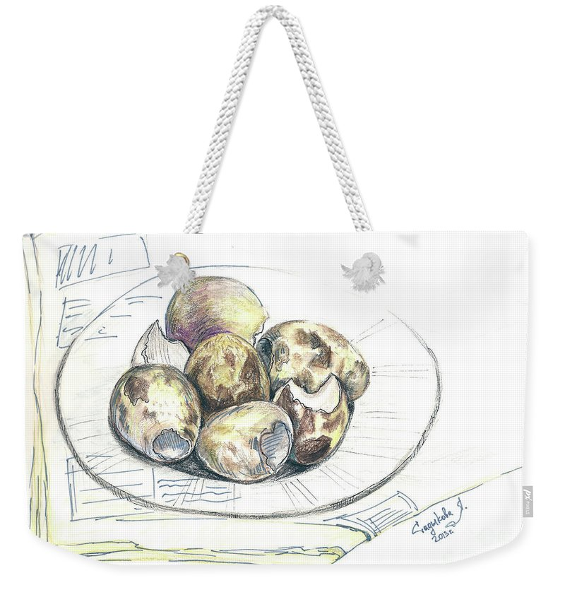 Sketches Weekender Tote Bag featuring the drawing Sketches by Yana Sadykova