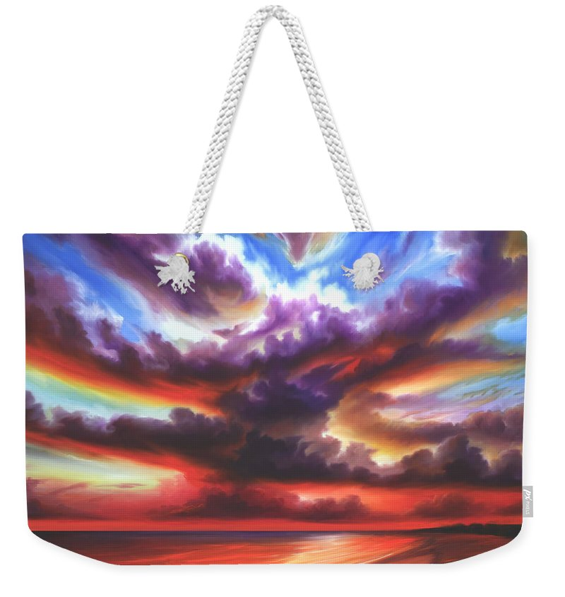 Sunrise Weekender Tote Bag featuring the painting Skyburst by James Christopher Hill