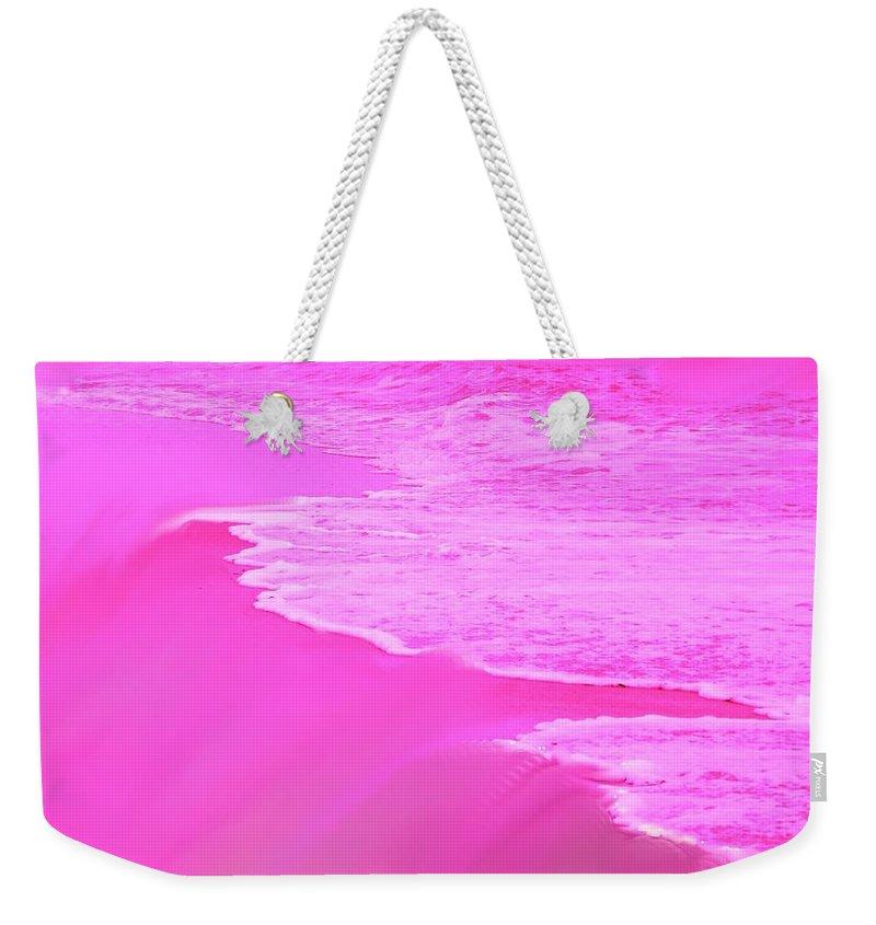Pink Weekender Tote Bag featuring the digital art Smooth Pink by Ian MacDonald
