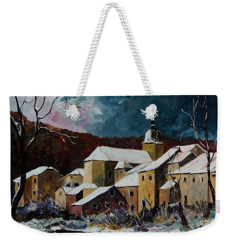 Winter Weekender Tote Bag featuring the painting Snow In Chassepierre by Pol Ledent