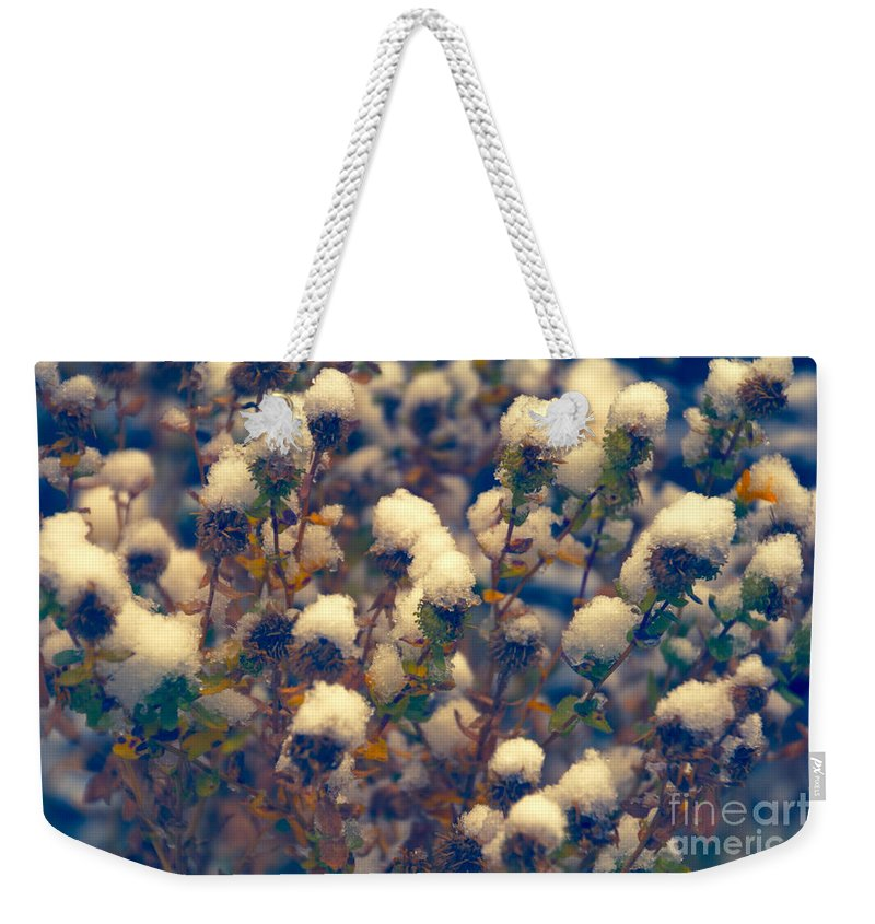 Snow Weekender Tote Bag featuring the photograph Snow Topping by Douglas Barnard