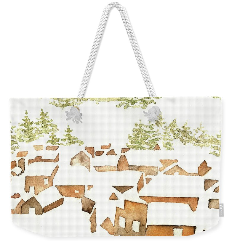 Snow Scene Weekender Tote Bag featuring the painting Snow Town by Youngjin Hwang