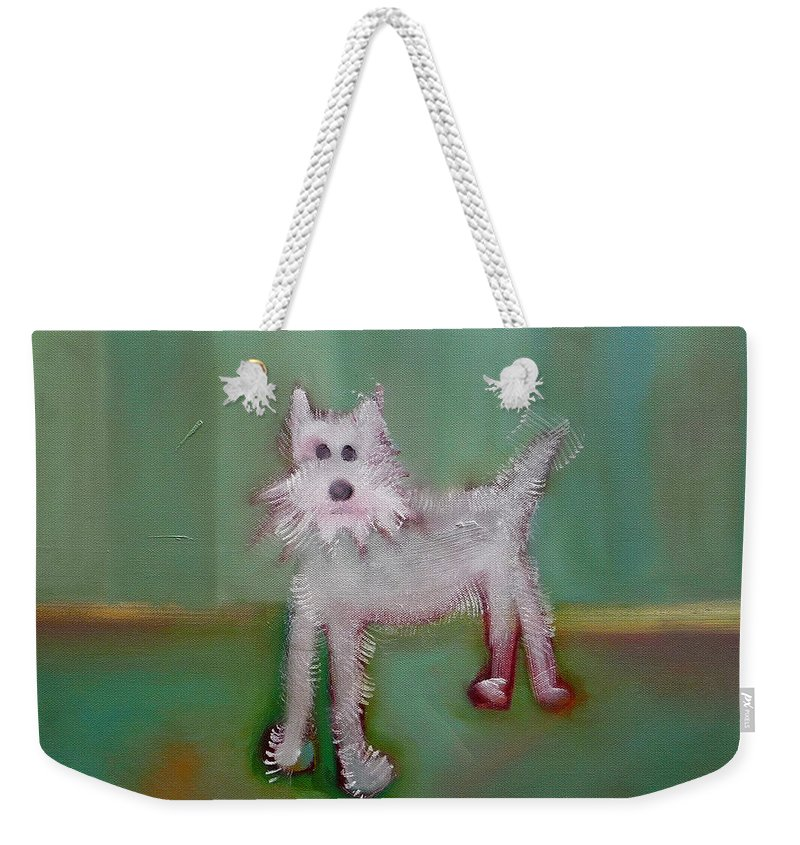 White Puppy Weekender Tote Bag featuring the painting Snowy by Charles Stuart