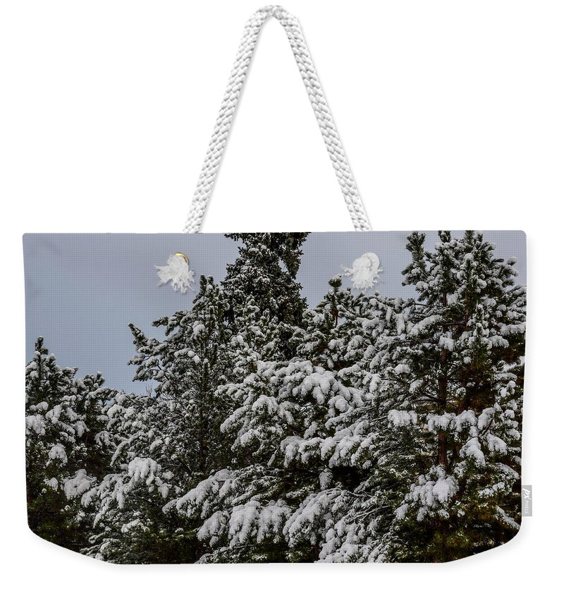 Green Weekender Tote Bag featuring the photograph Snowy Trees by Michael Putthoff