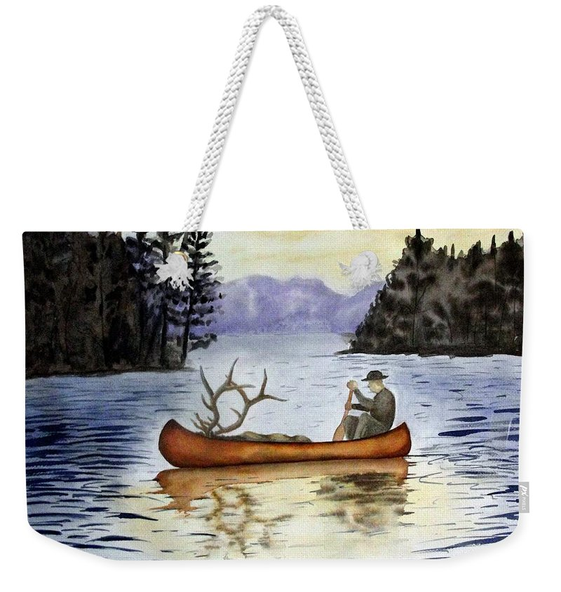 Canoe Weekender Tote Bag featuring the painting Solitude by Jimmy Smith