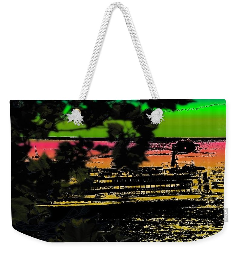 Ferry Weekender Tote Bag featuring the digital art Soundside Treehouse View by Tim Allen
