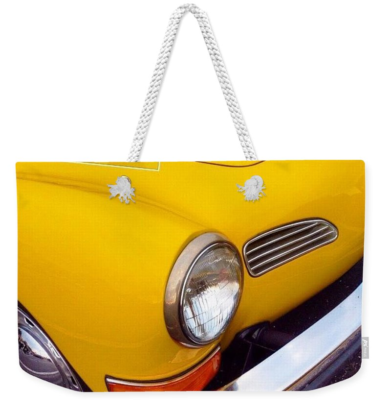 Sportscar Weekender Tote Bag featuring the photograph Spotted This #car Today While by Austin Tuxedo Cat