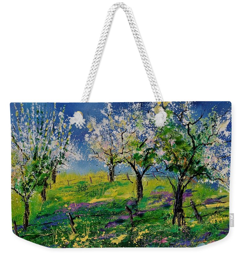 Landscape Weekender Tote Bag featuring the painting Spring 79 by Pol Ledent