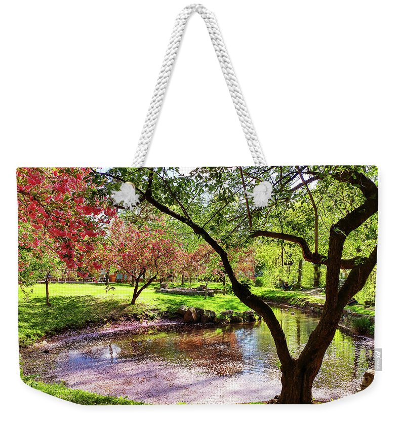 Spring Weekender Tote Bag featuring the photograph Spring At Tappan Park Pond by Roger Bester