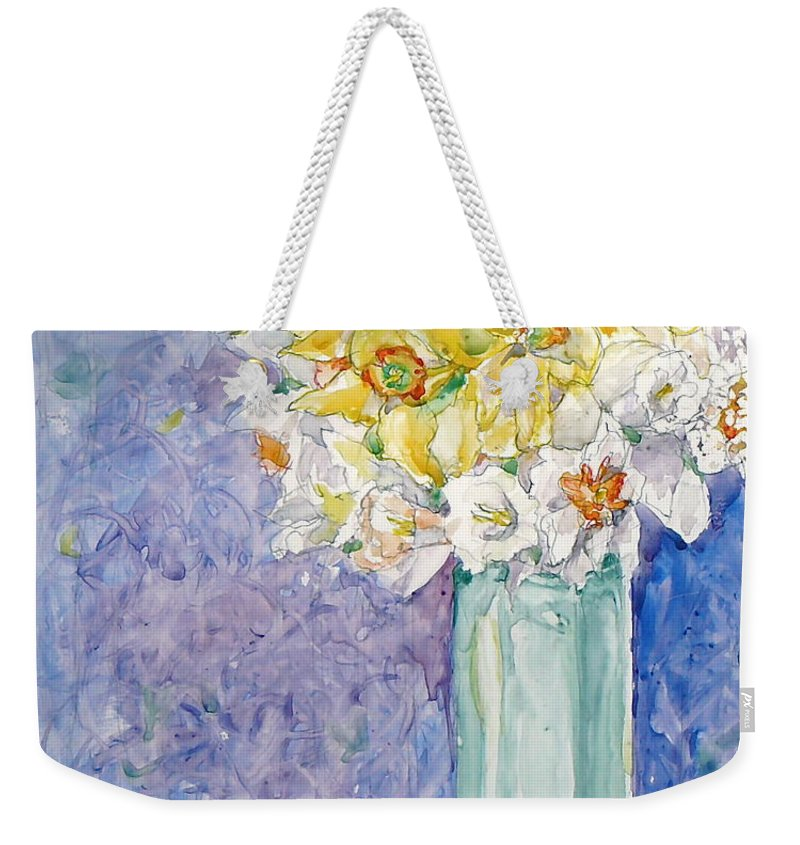 Watercolor Weekender Tote Bag featuring the painting Spring Blossoms by Jan Bennicoff