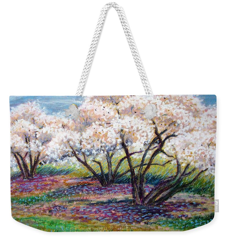 Oil Pastel Weekender Tote Bag featuring the painting Spring Has Sprung by Art Nomad Sandra Hansen
