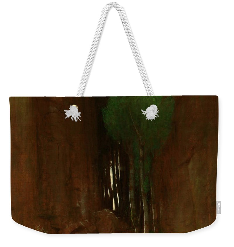 Painting Weekender Tote Bag featuring the painting Spring In A Narrow Gorge by Mountain Dreams