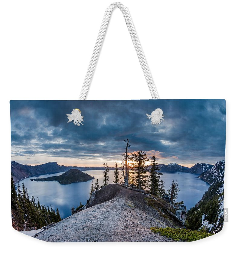 Crater Lake Weekender Tote Bag featuring the photograph Spring Morning At Discovery Point by Greg Nyquist