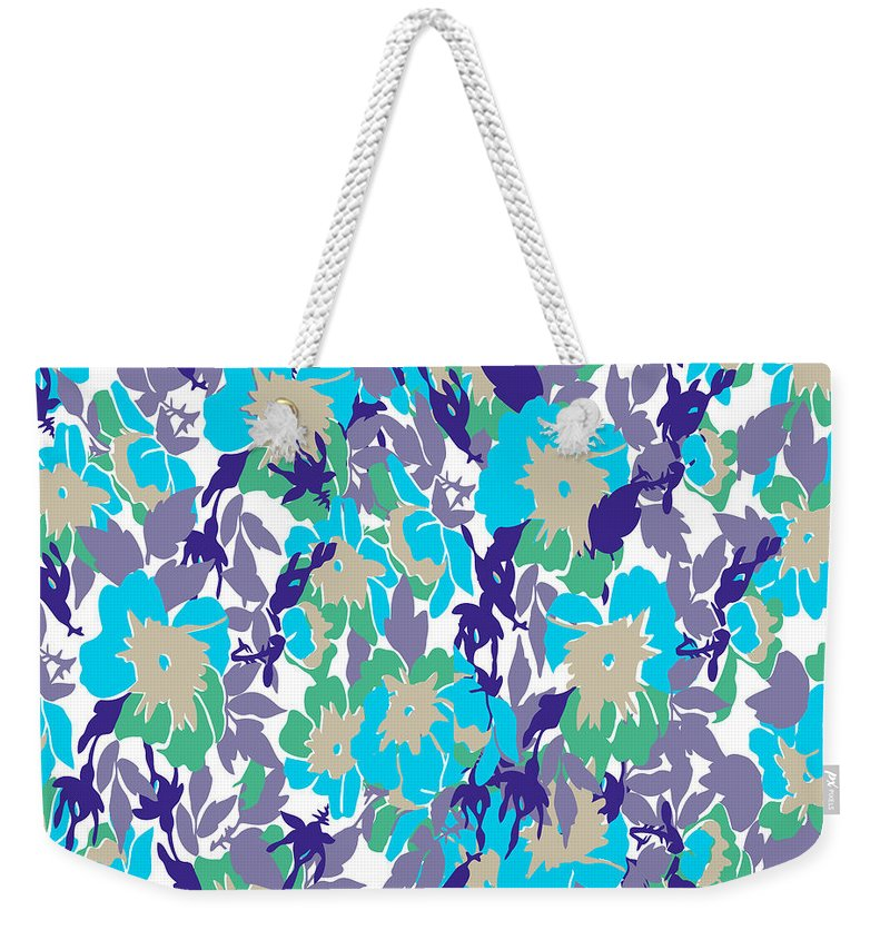 Floral Weekender Tote Bag featuring the digital art  Spring Summer Flowers In Vintage Style. Seasons Floral Pattern by Svetlana Corghencea