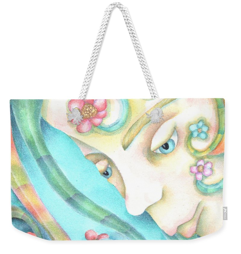 Weekender Tote Bag featuring the painting Sprite Of Giving Hearts by Jeniffer Stapher-Thomas