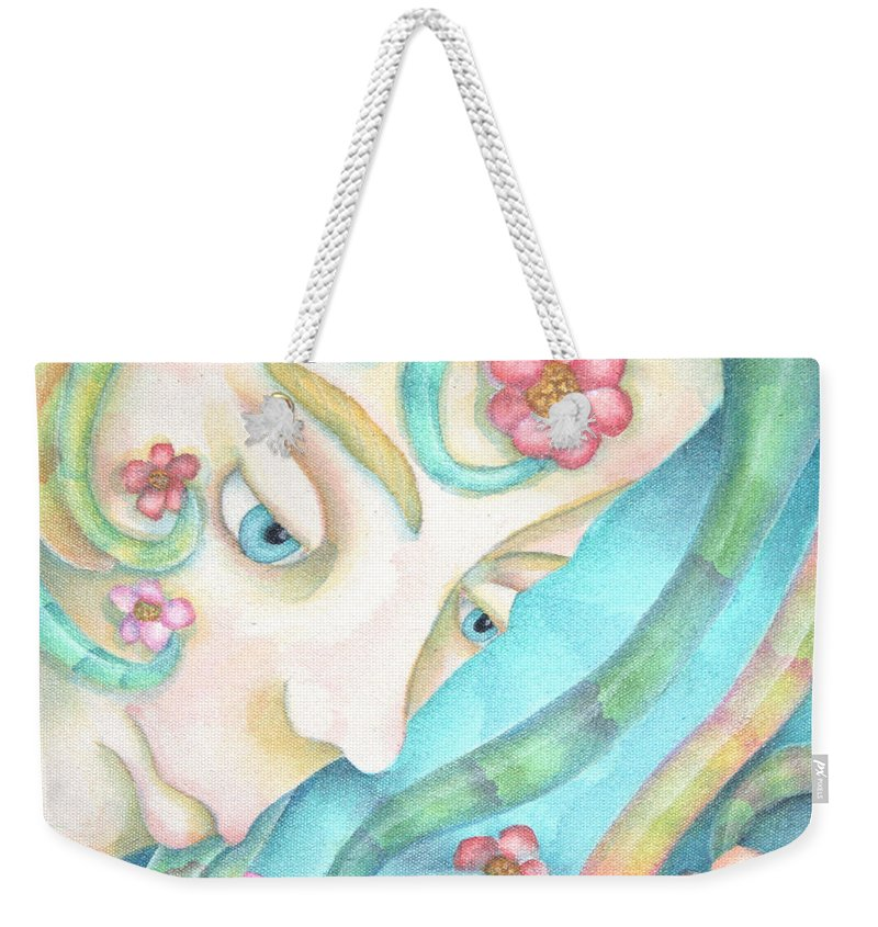 Sprite Weekender Tote Bag featuring the painting Sprite Of Kind Thoughts by Jeniffer Stapher-Thomas