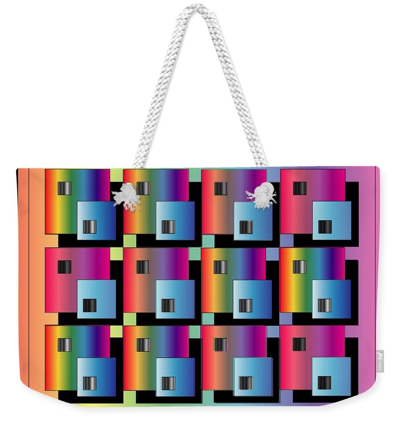 Abstract Weekender Tote Bag featuring the digital art Squares by George Pasini