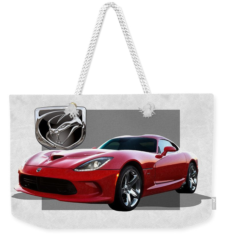 'dodge Viper' By Serge Averbukh Weekender Tote Bag featuring the photograph S R T Viper with 3 D Badge by Serge Averbukh
