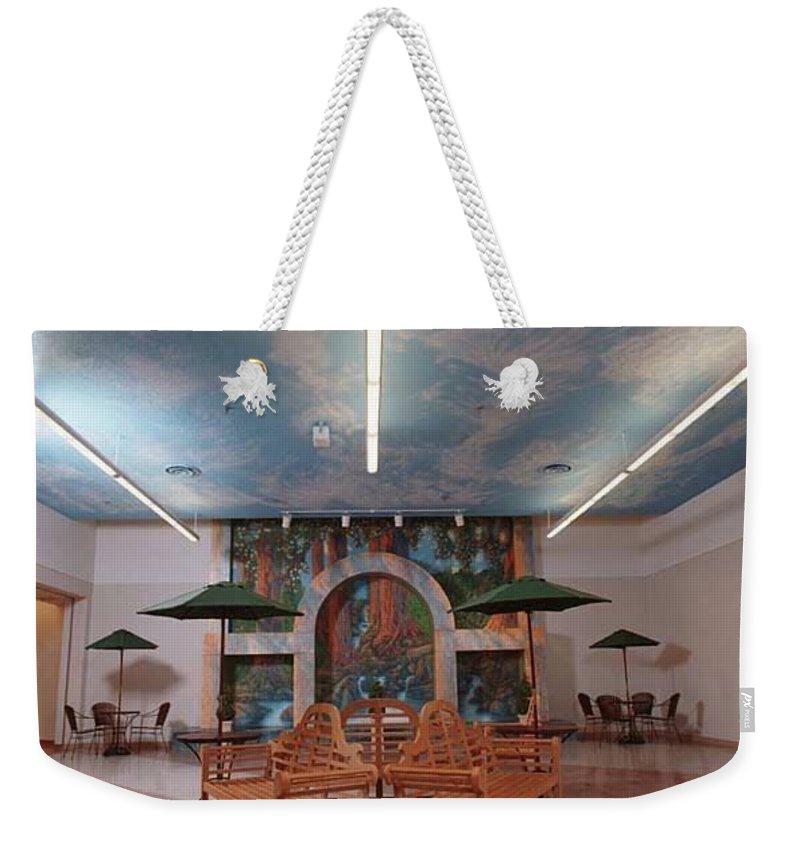 Weekender Tote Bag featuring the painting St. Alexius Hospital, Gateway Mall, Bismarck, Nd by Wayne Pruse