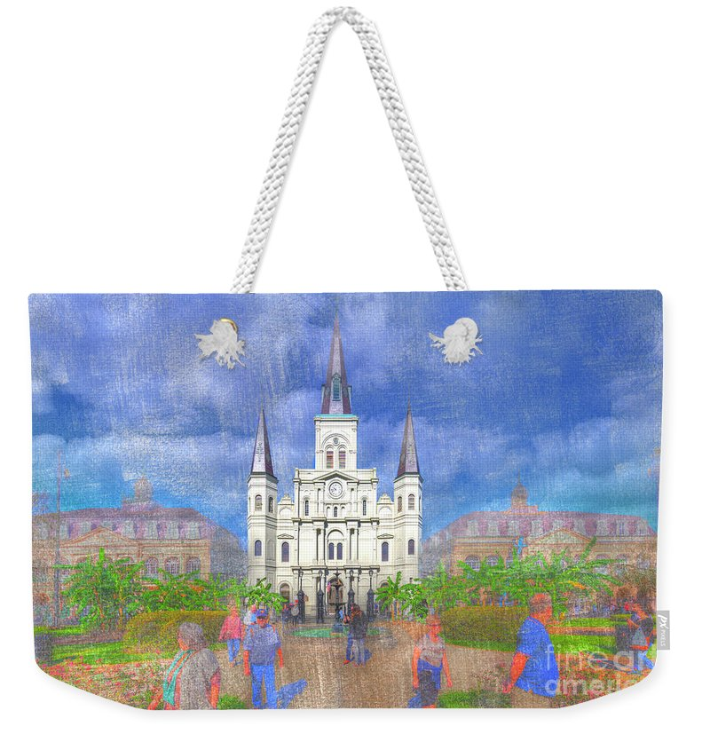 Texture Weekender Tote Bag featuring the photograph St Louis Cathedral by Larry Braun