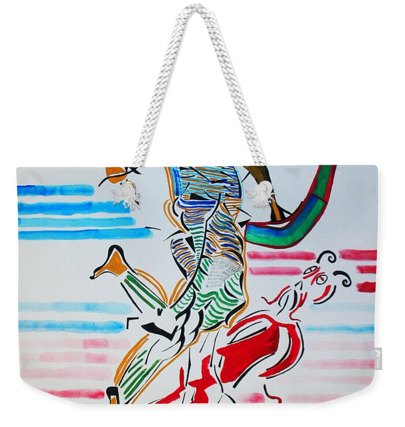 Jesus Weekender Tote Bag featuring the painting St Michael The Archangel by Gloria Ssali