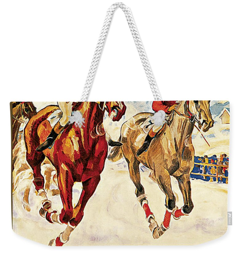 St. Moritz Weekender Tote Bag featuring the painting St. Moritz by Hugo Laubi