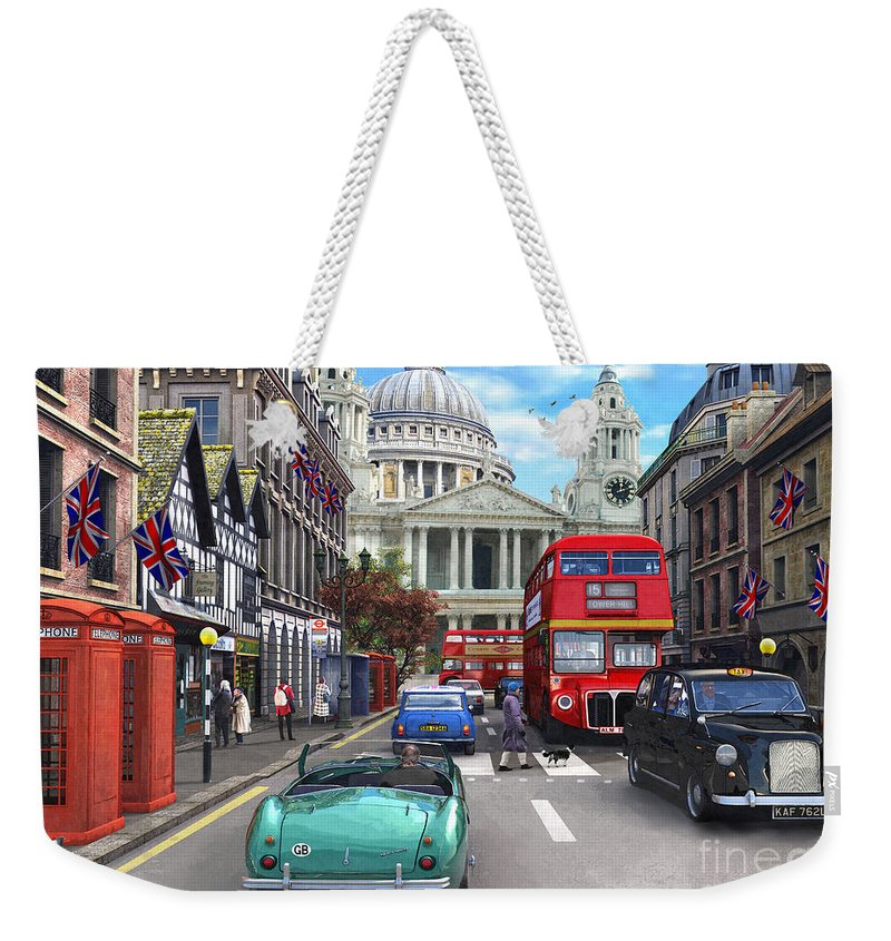 London Weekender Tote Bag featuring the digital art St Paul's Cathedral by Dominic Davison