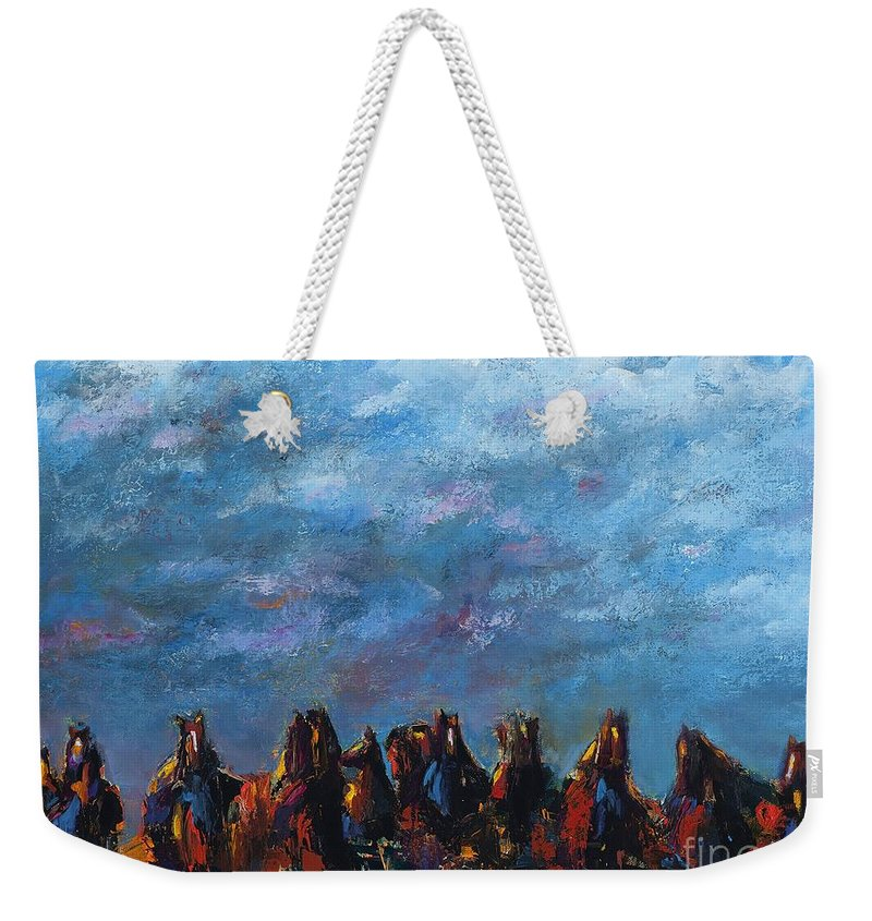 Horses Weekender Tote Bag featuring the painting Stampede by Frances Marino