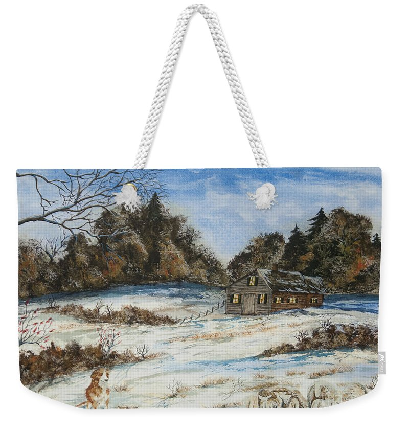 Dog Weekender Tote Bag featuring the painting Standing Guard by Charlotte Blanchard