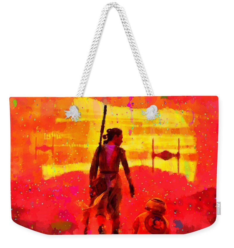 Silhouette Weekender Tote Bag featuring the painting Star Wars 8 Last Jedi - Pa by Leonardo Digenio
