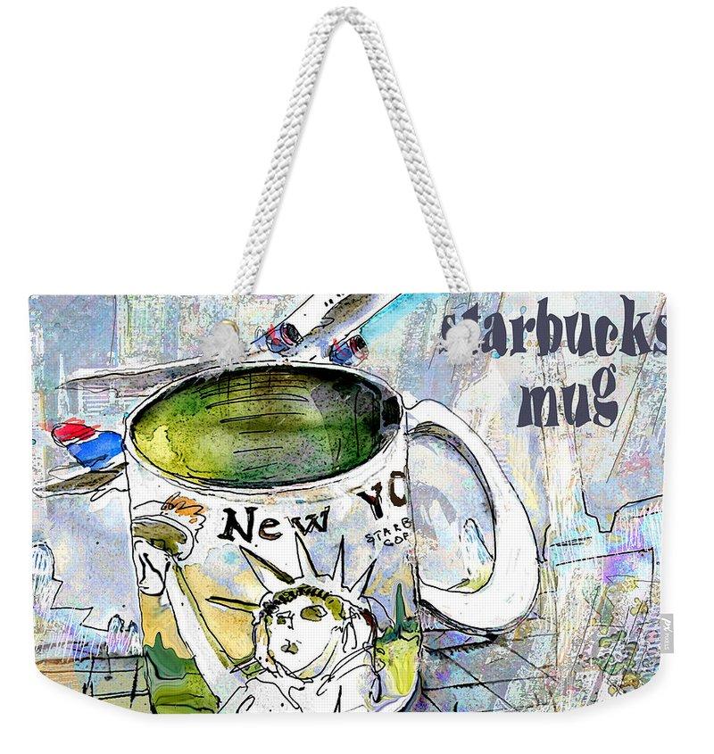 Mugs Art Weekender Tote Bag featuring the painting Starbucks Mug New York by Miki De Goodaboom