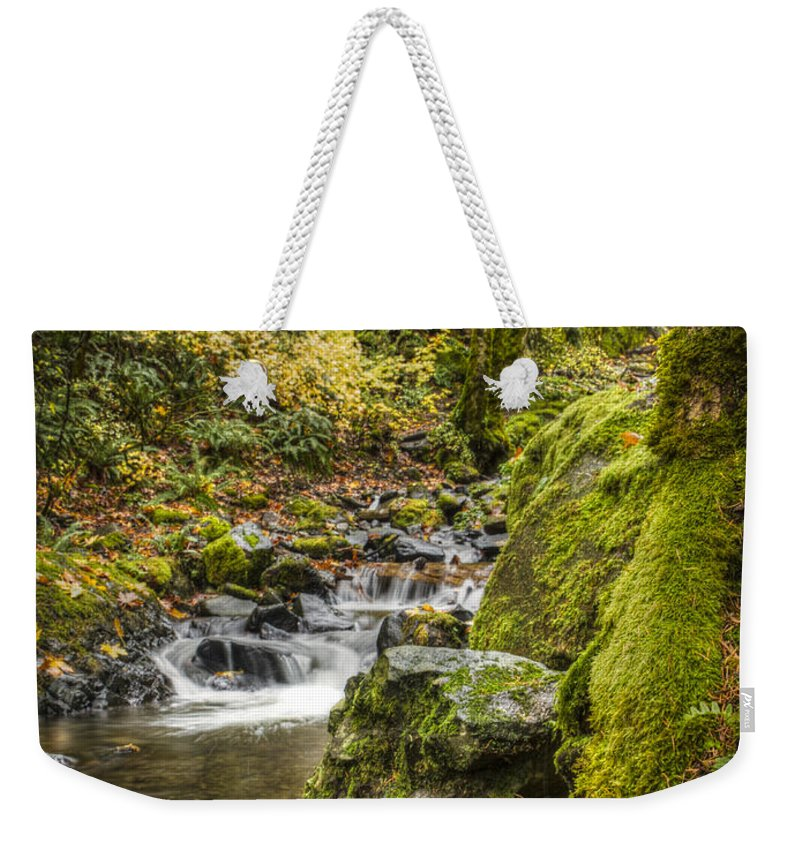 Oregon Weekender Tote Bag featuring the photograph Starvation Creek by Jean Noren