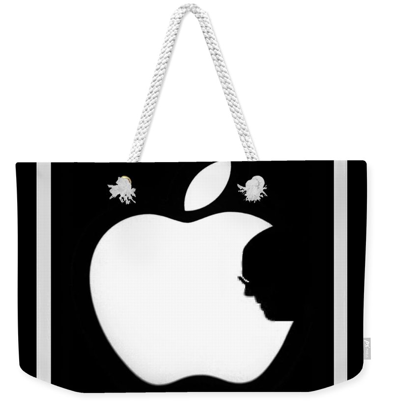 Black And White Weekender Tote Bag featuring the photograph Steve Jobs Apple by Rob Hans