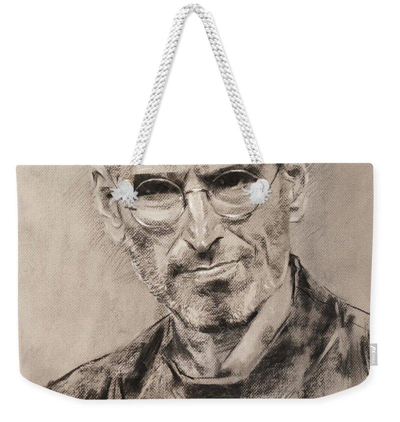 Steve Jobs Weekender Tote Bag featuring the drawing Steve Jobs by Ylli Haruni